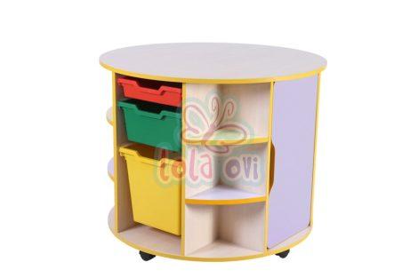 Suli - kör alakú tárolós asztal, 2 ajtós, 7 rekeszes, sarokpolcos