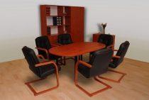 félkörívesen lekerekített tárgyalóasztal
